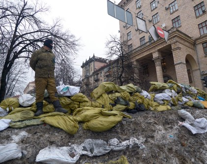 Maidan's defender on the barricade near the State Committee for Television and Radio Broadcasting of Ukraine