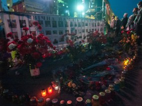 Flowers and candles at Maidan (near the stage)