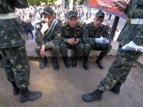 Cadets have a rest after a ceremony
