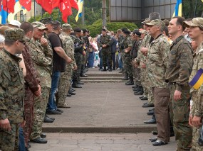 Ukrainian cossacks and veterans of special forces