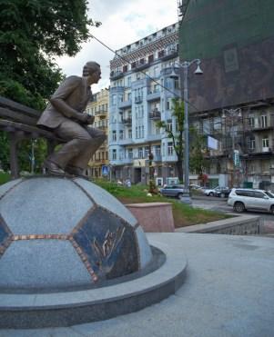 Valeriy Lobanovskyi (Soviet-Ukrainian football manager) monument at Hrushevskogo St.
