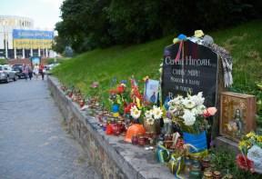 Memorial plate at Hrushevskogo St.