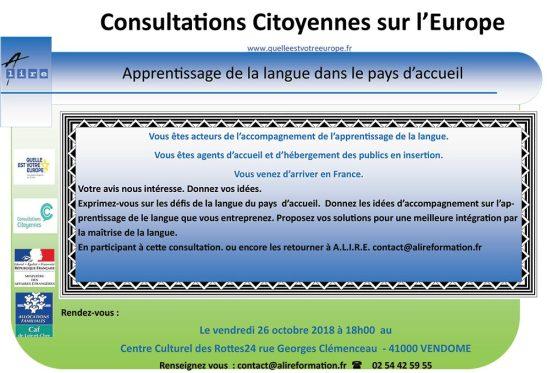 """Consultations Citoyennes sur l'Europe - """"Apprentissage de la langue dans le pays d'accueil"""""""
