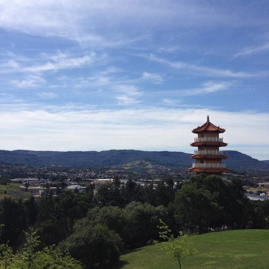 View out over the pagoda.
