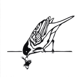 """Bird Holding Humpy Fly, hand cut paper on paper, 5"""" x 5"""", $125"""