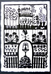 "Garden Path (Wishul Thinking), hand cut paper on paper, 18"" x 10"", Sold"
