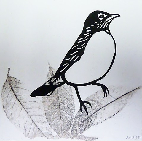 """Robin on Leaf, hand cut paper and print on paper, 5"""" x 5"""", Sold"""
