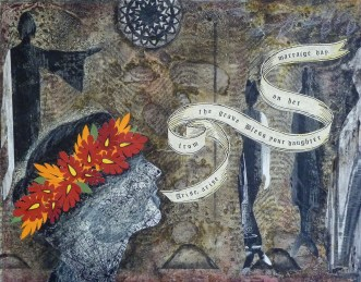 """Call for the Wedding Day Blessing, mixed media, 8"""" x 10"""", Sold"""