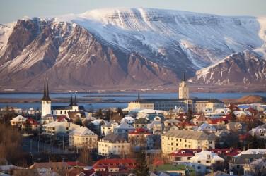 Elevated view over Reykjavik, Iceland