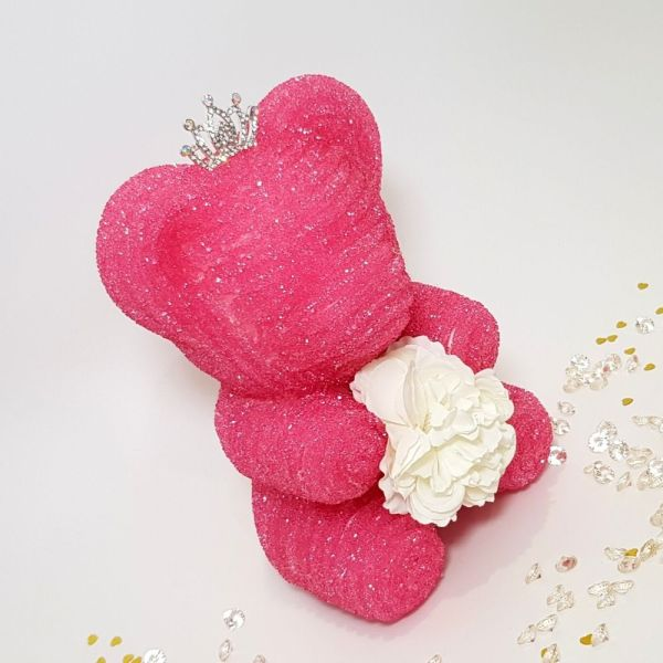Pink crystal bear with tiara and flower