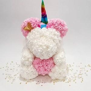 unicorn rose bear pink and white