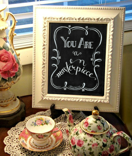 FREE Chalkboard Art Print - You Are a Masterpiece | Masterpiece Society | Flourish | alishagratehouse.com