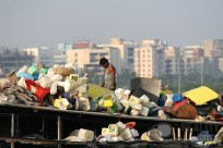 Plastic recycling on a Dharavi rooftop