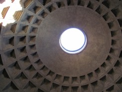 The famous Pantheon dome - Almost two thousand years after it was built, the Pantheon's dome is still the world's largest unreinforced concrete dome.-