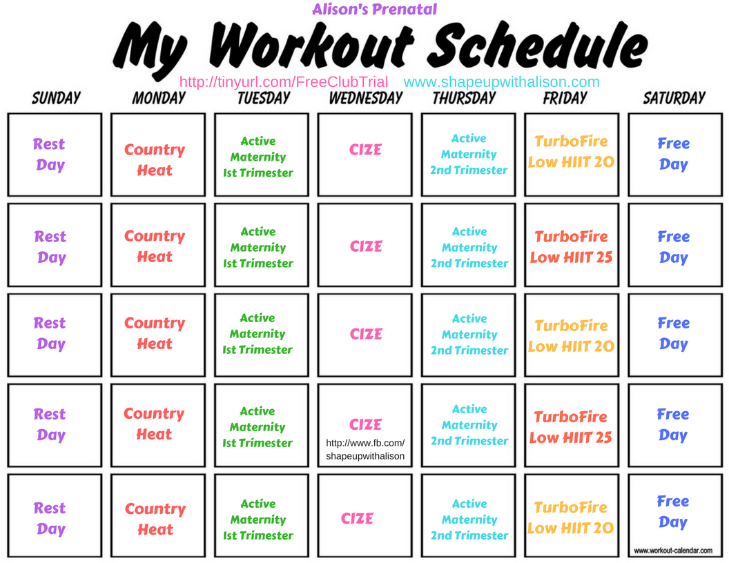 Beachbody Barre Blend Workout Calendar