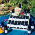 a box of flower remedies in blue bottles