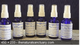 pansy-thenaturalsanctuary.com displayed in blue bottles