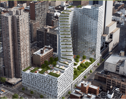 pictures of the new luxury condo in NYC with its green stairway to the sky