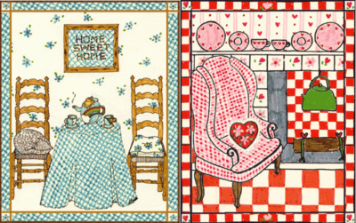 Two greeting cards illustrated for Family Line Cards