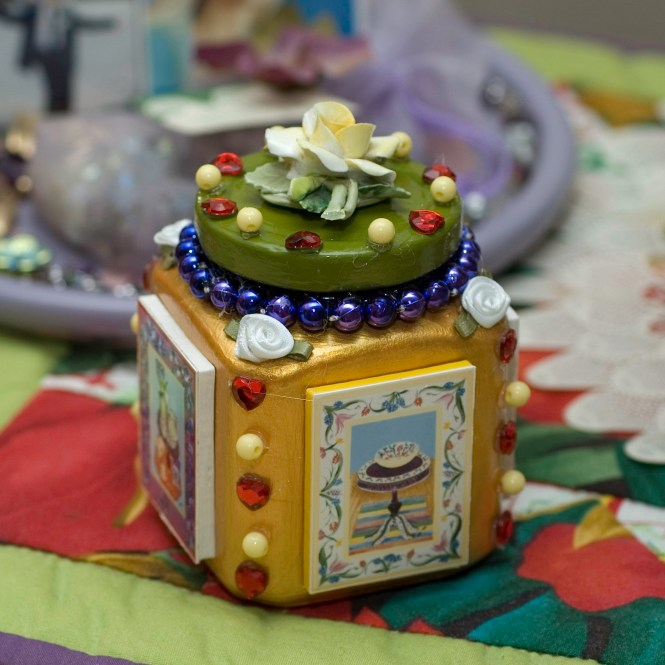 A Recycled with Love Collectable jar that contains lots of decorative notions