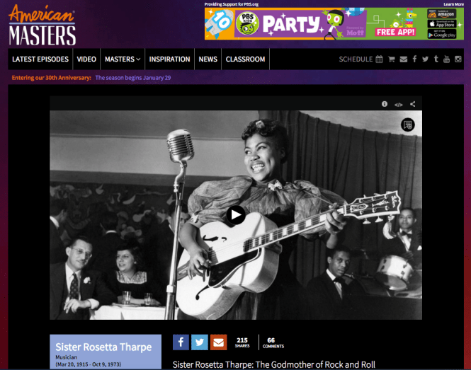 Sister Rosetta on a PBS Special in 2013