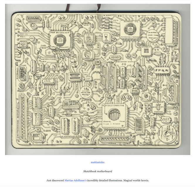 mattiasinks:  Sketchbook motherboard  Just discovered Mattias Adolfsson's incredibly detailed illustrations. Magical worlds herein.
