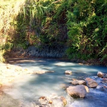Mud wall and stream at Los Banos de la Hedionda Roman baths