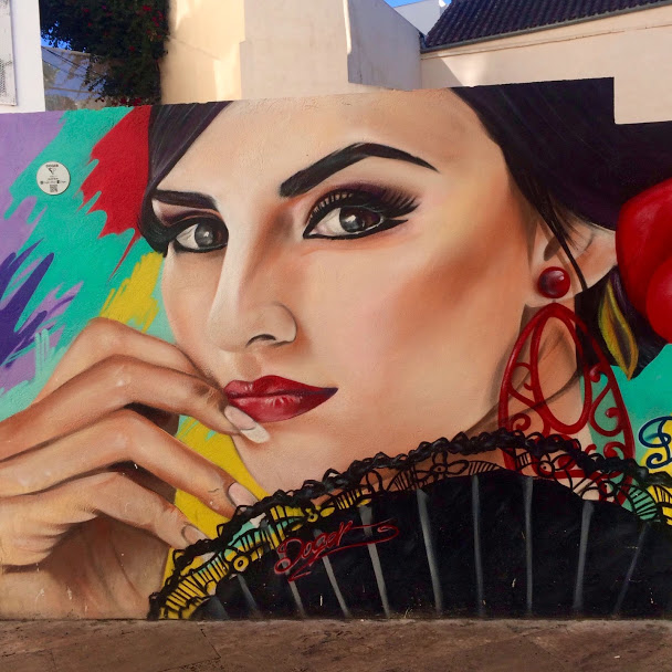 Mural of Spanish woman with fan