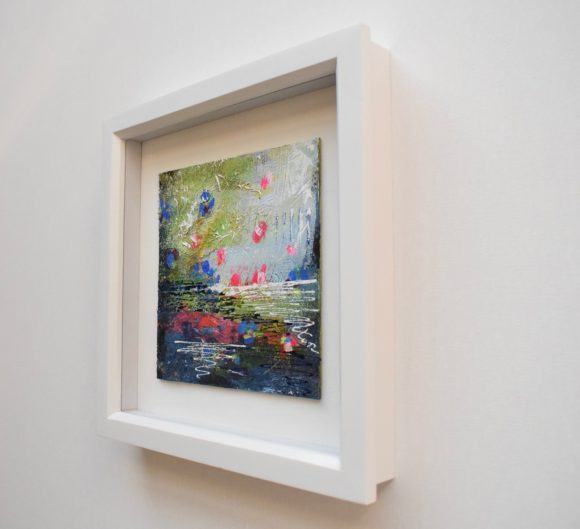 DSC 6034 580x529 - Small, blue/green mixed media art in white frame: 33 after Monet