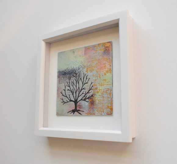 DSC 6047 580x540 - Small, neutral abstract mixed media art in white frame - winter tree (36)