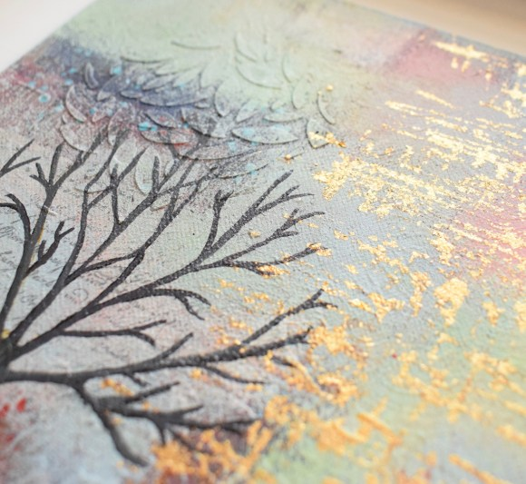 DSC 6048 580x533 - Small, neutral abstract mixed media art in white frame - winter tree (36)