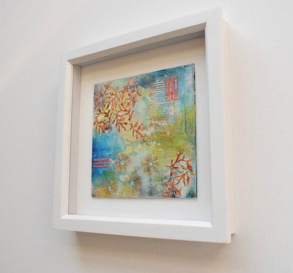 DSC 6075 580x540 - Small, mixed media abstract art, aqua and gold in white frame(40)