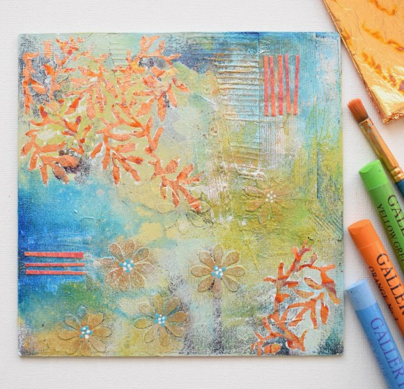 DSC 6078 580x558 - Small, mixed media abstract art, aqua and gold in white frame(40)