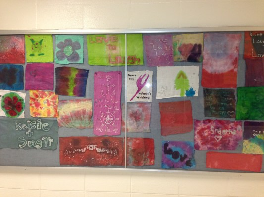 Showcasing art in the hallway (Batik wax).