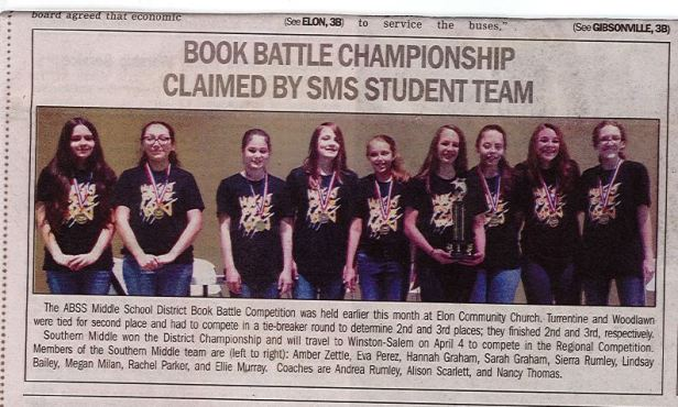 Book Battle District Win-Alamance News Article