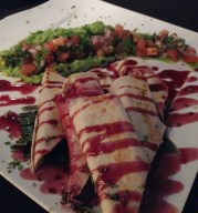 Incredibly delicious hibiscus flower tacos at Limon on Isla Mujeres