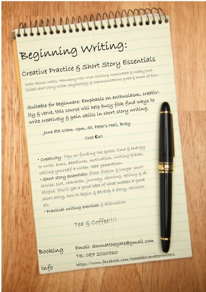 Creative Practice   Short Story Essentials Writing Workshop   Head     alisons writers course poster