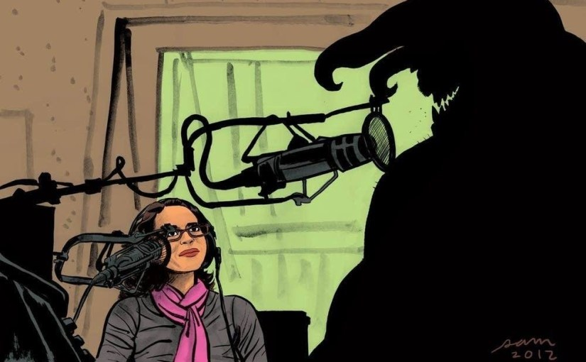 Flutist and voice artist Alison Young and the monster by Sam Hiti