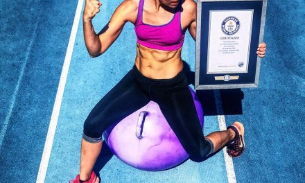 You are looking at the world's fastest woman on a space hopper.