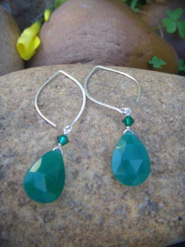 blue onyx drop silver earrings 2