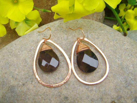 smoky quartz teardrop earrings