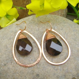 smoky quartz teardrop earrings