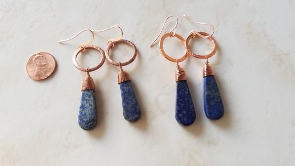 lapis copper hoop earrings