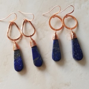 copper & lapis earrings