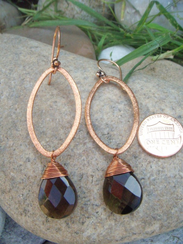 smoky quartz earrings large