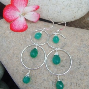 green onyx silver hoop earrings