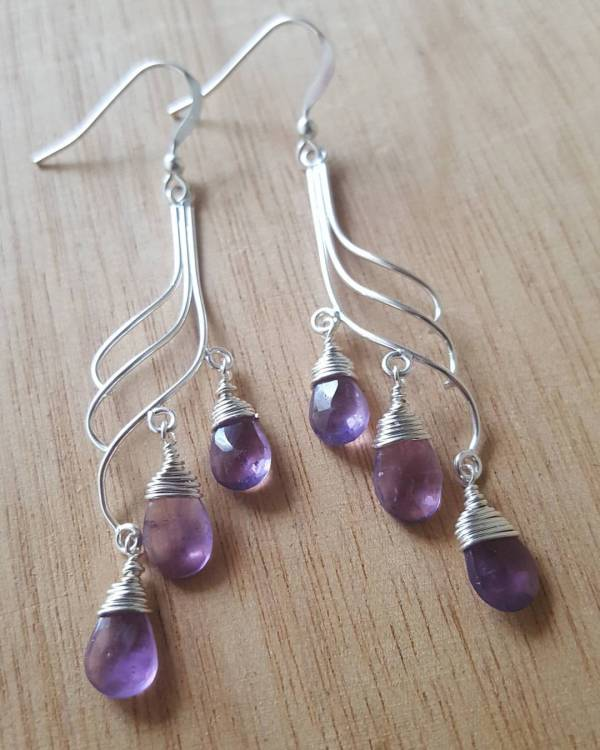 amethyst wave earrings