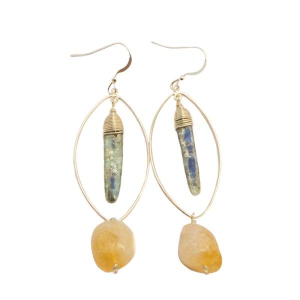 kyanite citrine sterling silver earrings