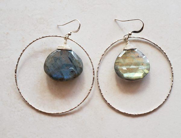 labradorite silver hoop earrings