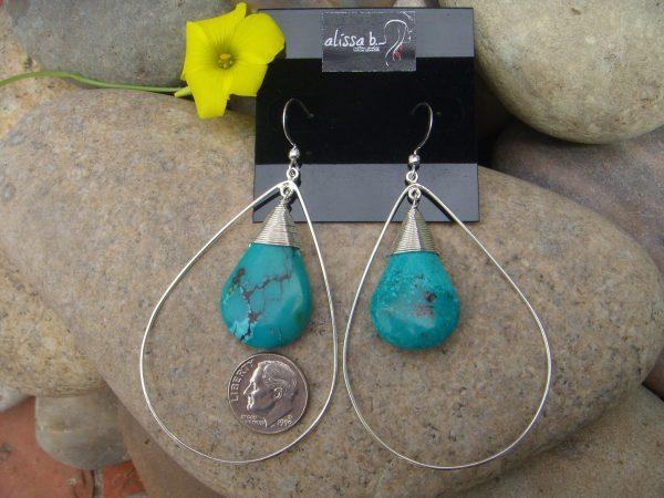 extra large turquoise teardrop earrings